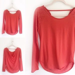 Prana Coral Open Slouchy Back Scoop Neck Shirt